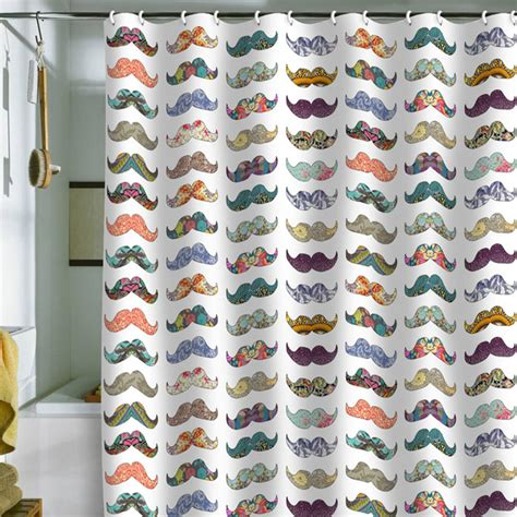 moustache curtains mustache shower curtain 69x70 multi deny designs bed bath