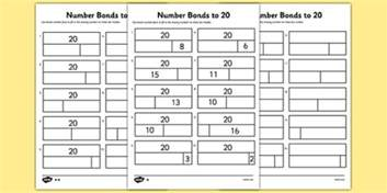 bar modelling number bonds to 20 differentiated activity sheet