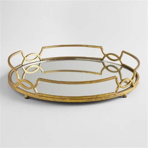 How To Use World Market Gift Card Online - gold mirrored tabletop tray world market