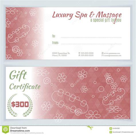 mock certificate template spa massage gift certificate template stock vector