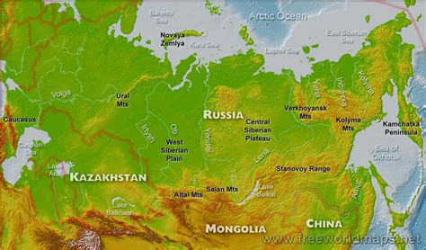 map of russia with cities rivers and mountains russia physical map
