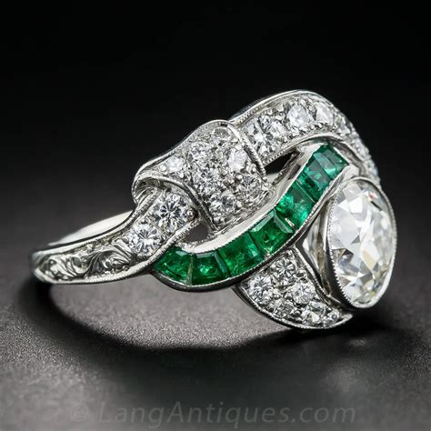 deco 1 97 carat center and emerald ring at 1stdibs