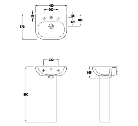 pedestal only for basin essential lily pedestal basin only 450mm wide 1 tap hole