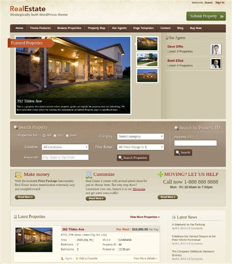 15 free real estate agencies realtors wordpress themes