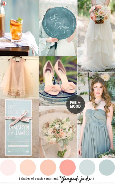 shades peach and grayed wedding colour palette