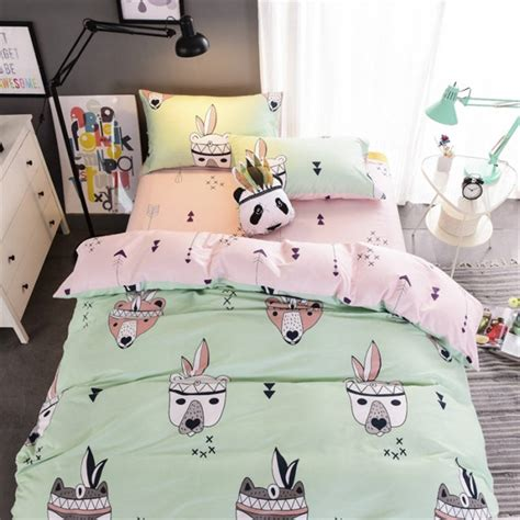 Animal Bedding Sets Animal Bedding Set Printed Bedspread Green And Pink Duvet Cover Twill Soft Cotton Bed