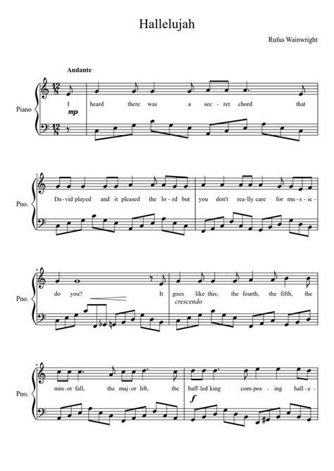 printable lyrics hallelujah alexandra burke hallelujah easy piano sheet music free pdf rufus