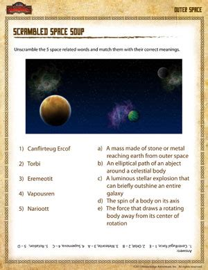 scrambled space soup free outer space science worksheet