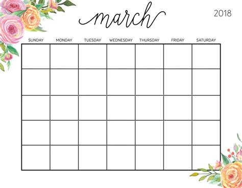 free blank calendar template march 2018 free printable march 2018 calendar calendar 2018