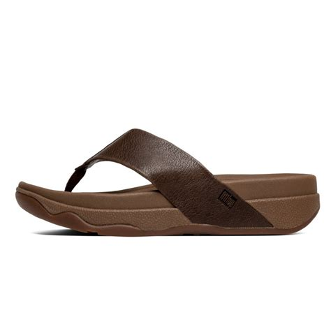 Sandal Surfer 8 fitflop surfer mens toe post sandal in chocolate brown leather fitflop from nicholas thomson uk