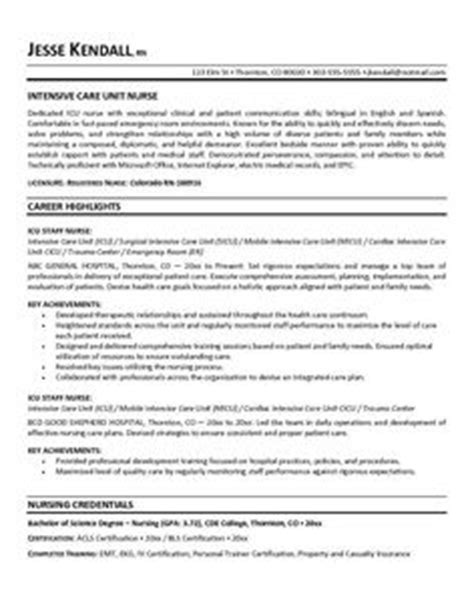 Intensive Care Unit Resume Objective curriculum vitae template search wade