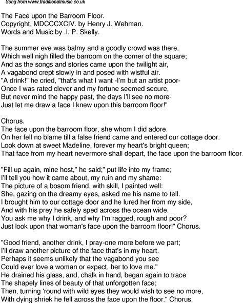 time song lyrics for 43 the upon the barroom floor