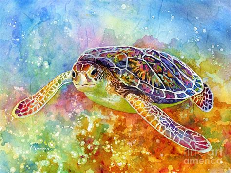 Decorative Wallpaper For Home by Sea Turtle 3 Painting By Hailey E Herrera