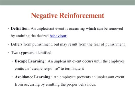 exle of negative reinforcement negative reinforcement