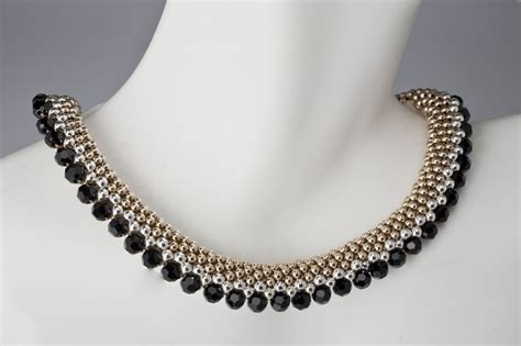 custom beaded necklace in gold silver and black