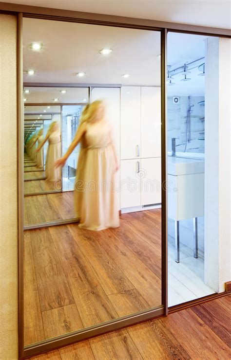 Reflection Wardrobe by Mirror Wardrobe In Modern Interior With Infinity Reflection Stock Image Image 29159733