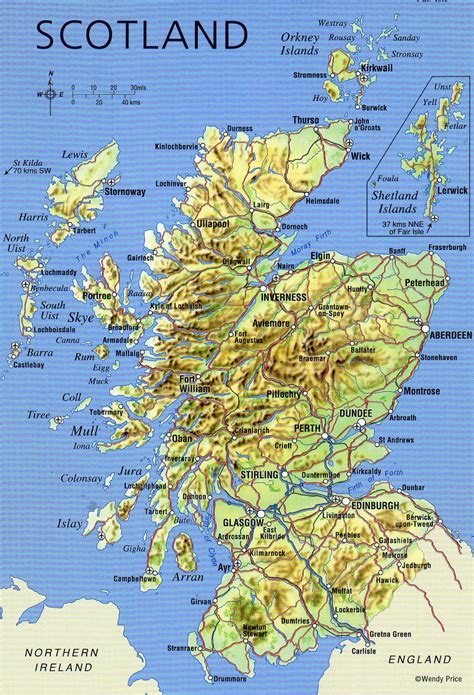 large map of large detailed map of scotland with relief roads major