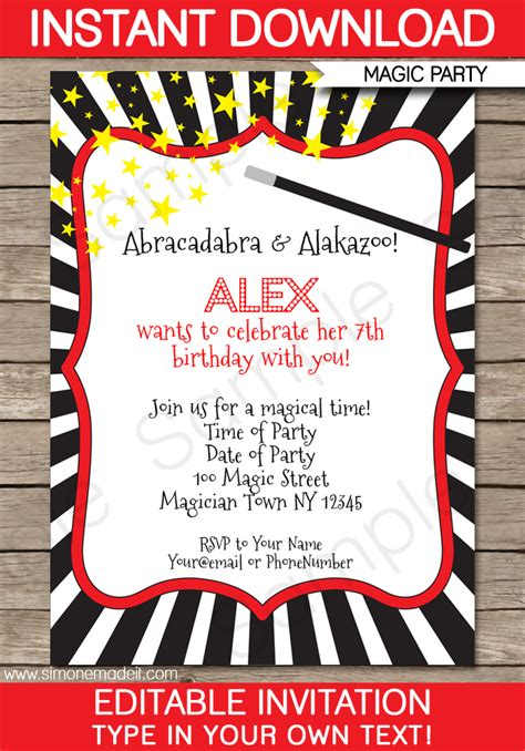 free printable birthday invitations magic theme magic party invitations template birthday party