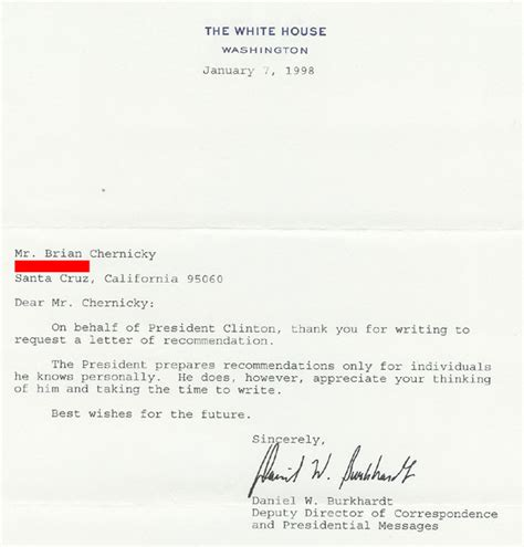 Recommendation Letter Joke Joke Letter To President Bill Clinton