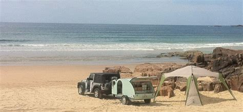 Pristine Awnings by 1954 Replica Teardrop Enjoying The Pristine Beaches In