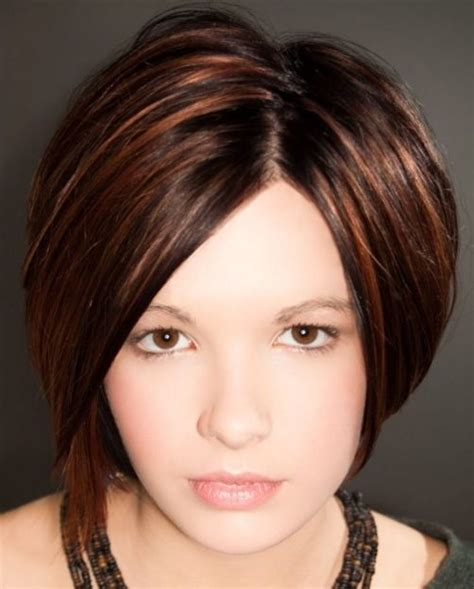 hairstyles for dark hair oval face picture of asymmetrical short hairstyle with brown