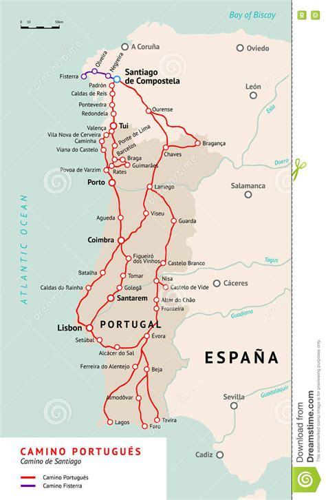 camino pilgrimage map camino portugu 233 s map camino de santiago portugal stock