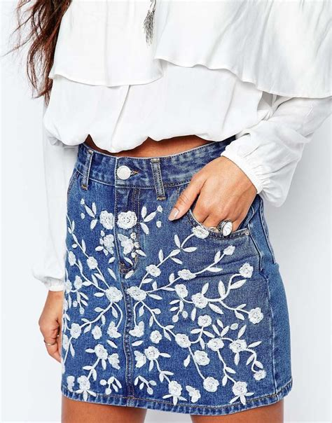18465 White Flower Denim Skirt best 20 denim fashion ideas on jean skirt
