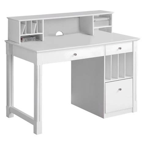 Home Office Deluxe White Wood Storage Computer Desk With White Wood Desks