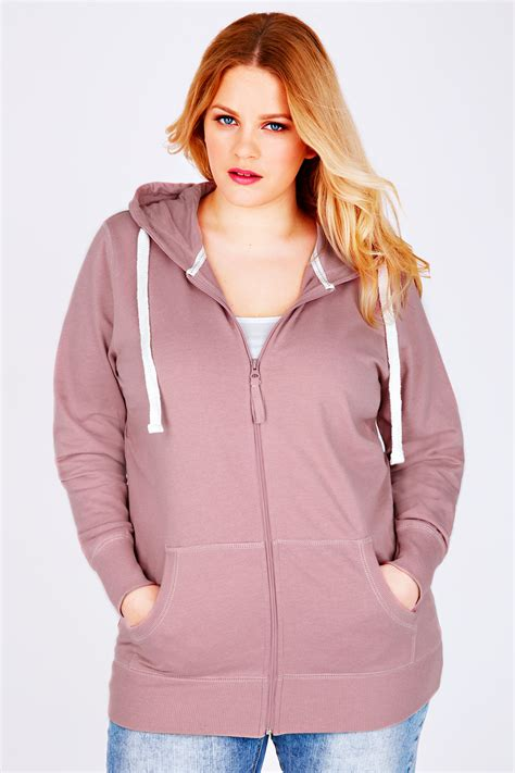 Jeny Hodie Dusty 1 westrock bay dusty pink hoodie with zip fastening plus size 16 to 36