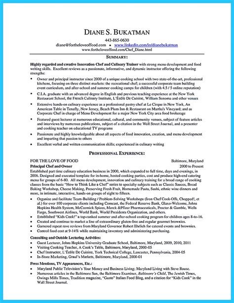 cv format qualifications excellent culinary resume sles to help you approved