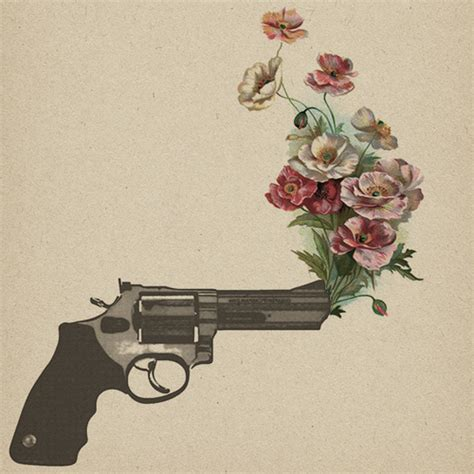 tattoo flower gun drawing flowers gun no war peace image 437799 on