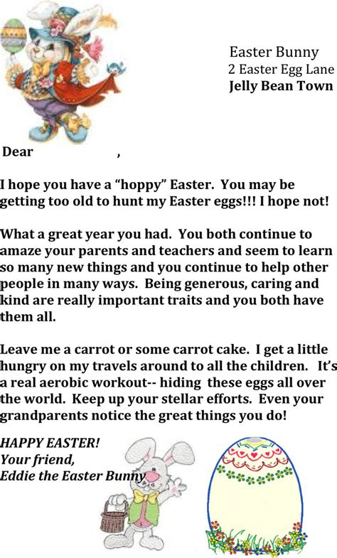 easter bunny letter template easter bunny letter template free premium