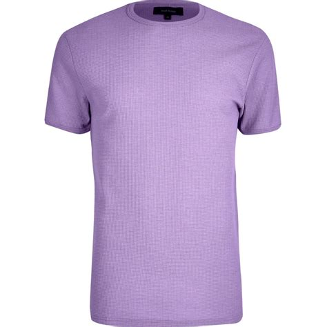Light Purple Waffle Slim Fit T Shirt T Shirts Vests
