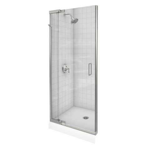 Brushed Nickel Shower Door Kohler Purist Frameless Pivot Shower Door In Vibrant Brushed Nickel The Home Depot Canada