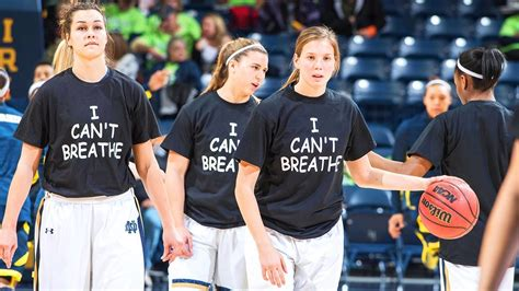 T Shirt Notre Dame White notre dame s basketball team wear i can t breathe t