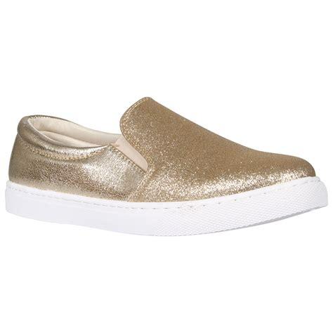 new womens glitter sport slip on sneaker pumps shoes ebay