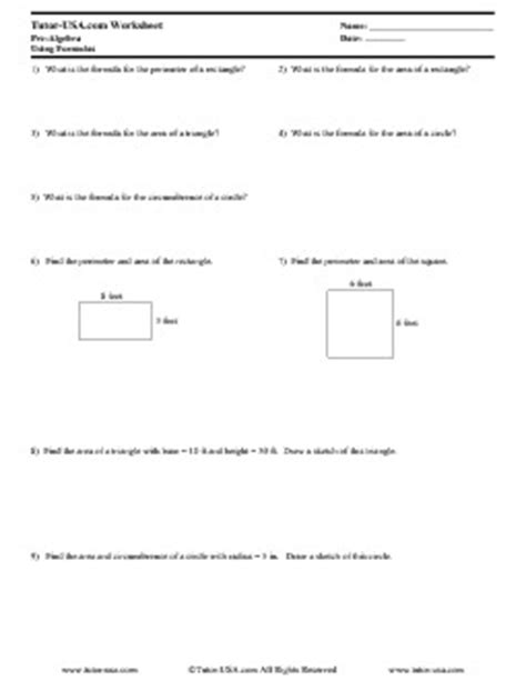 Area And Perimeter Worksheets Pdf by Worksheet Using Formulas Area And Perimeter Pre