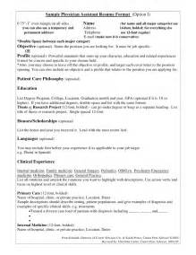 Doctor Resume Templates by Sle Physician Assistant Resume Format Option I
