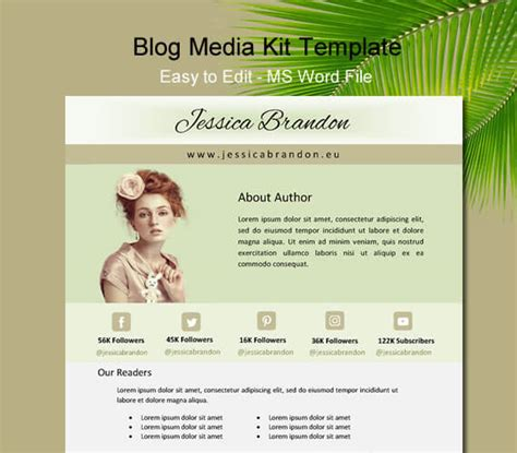 author media kit template image collections templates