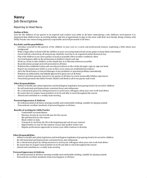 sle resume nanny responsibilities description for 28 images 7 sle