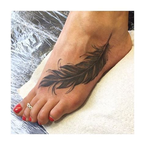 black feather tattoo 50 best foot tattoos design and ideas