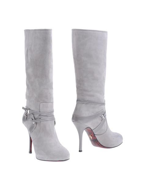 high heel grey boots cesare paciotti high heel knee high boots in gray light