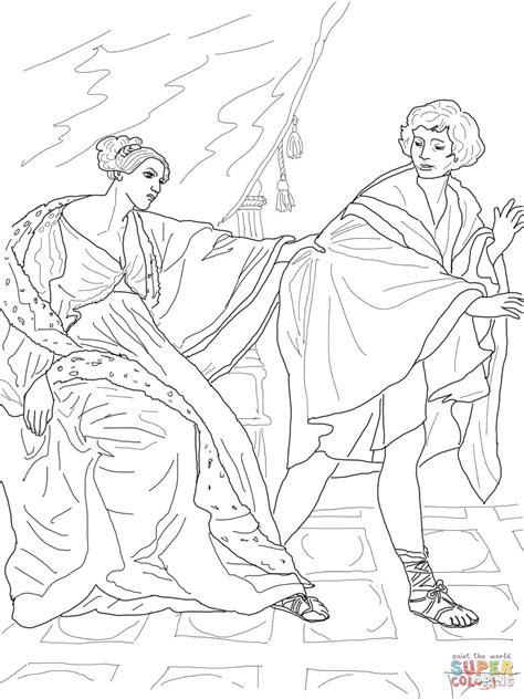 coloring page of joseph and potiphar joseph and potiphar s wife coloring page free printable