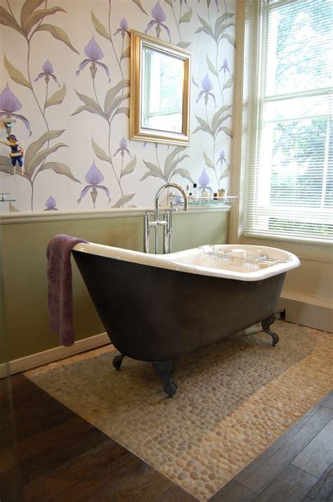 used clawfoot tub bathroom with black claw foot