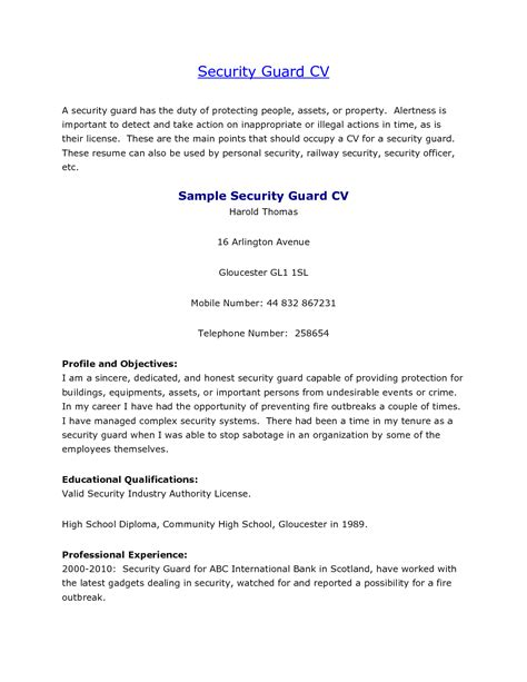 Sle Of Security Guard Resume ca guard resume sales guard lewesmr