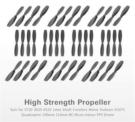 40pcs mini 60mm cw ccw propeller for 0720 0820 8520 1mm shaft coreless motor hubsan h107 series