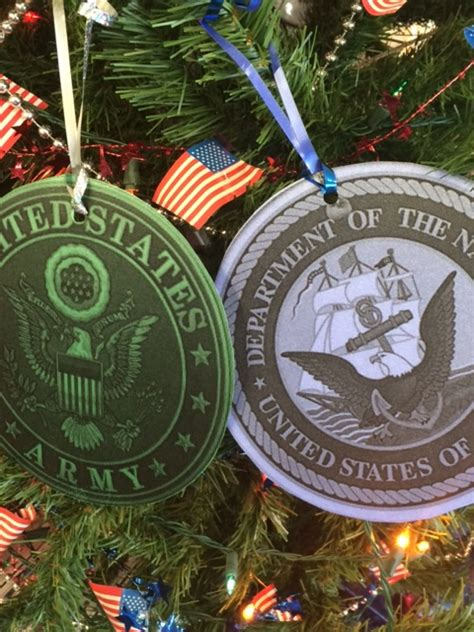 ornaments represent veterans holiday wishes on frs first