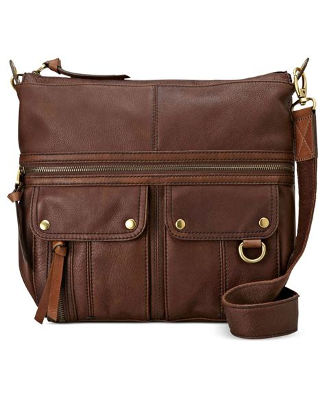 Fossil Crossbody Model 705b fossil leather top zip crossbody in brown lyst