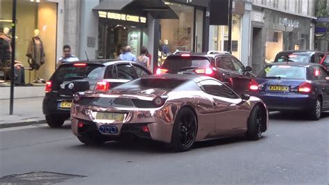chrome gold ferrari rose gold chrome ferrari 458 with armytrix exhaust revs