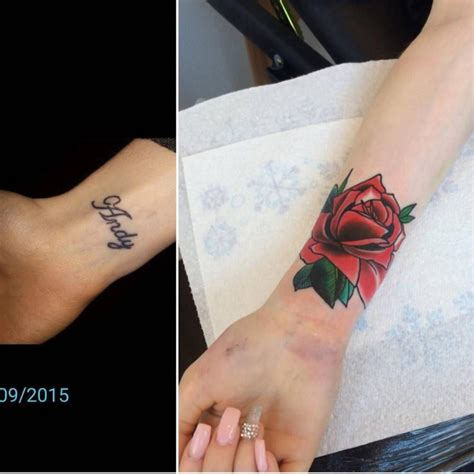 rose tattoo on inner arm traditional on the right inner wrist